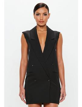 Peace + Love Black Raw Edge Sleeveless Blazer Dress by Missguided
