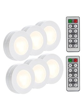Lunsy Wireless Led Puck Lights, Closet Lights Battery Operated With Remote Control, Kitchen Under Cabinet Lighting Wireless, 4000 K Natural White   6 Pack by Lunsy
