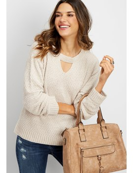 Keyhole Neck Chenille Pullover by Maurices