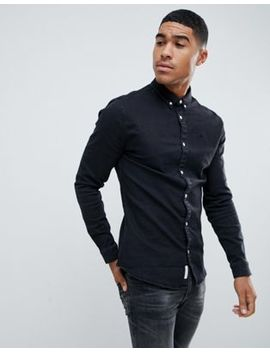 River Island Muscle Fit Denim Shirt In Black by River Island
