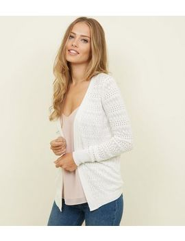 Apricot Cream Pointelle Cardigan by New Look
