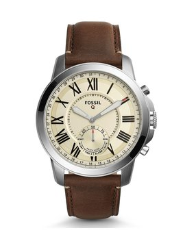 Q Grant Leather Strap Beige Dial Hybrid Smart Watch by Fossil