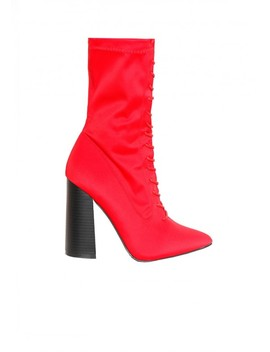 Lauren Red Lace Up Boots by Missy Empire