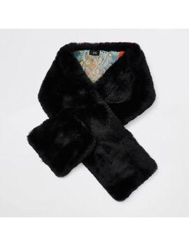 Black Faux Fur Shawl Scarf by River Island