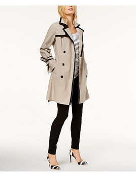 I.N.C. Petite Contrast Trim Belted Trench Coat, Created For Macy's by Inc International Concepts