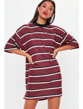 Burgundy Oversized Striped T Shirt Dress by Missguided