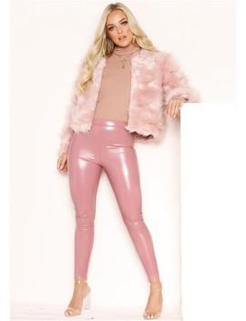 Anastasia Pink Vinyl Leggings by Missy Empire