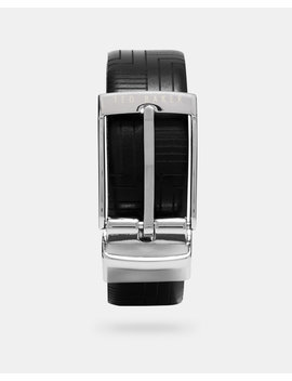 Embossed Reversible Leather Belt by Ted Baker