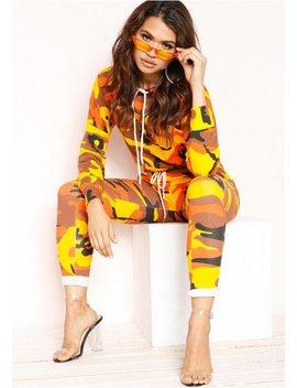 Jaz Orange Camo Joggers by Missy Empire
