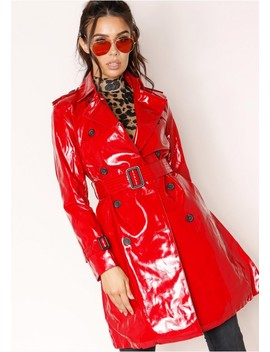 Charlotte Red Patent Trench Coat by Missy Empire