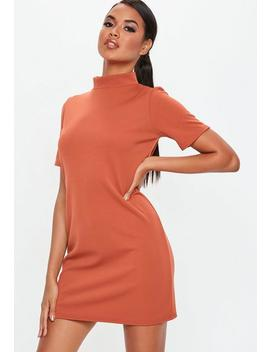Rust High Neck Scuba Shift Dress by Missguided