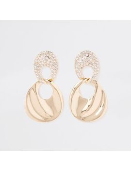 Gold Tone Diamante Link Wavy Drop Earrings by River Island