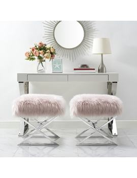 Della Faux Fur Ottoman With Gold Or Chrome X by Inspired Home