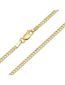 Forever Flawless Jewelry 14 K Yellow Gold 2mm Concave Curb Classic Link Chain Necklace by Forever Flawless Jewelry