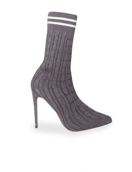 Cora Grey Sock Fit Pointed Stripe Heels by Missy Empire