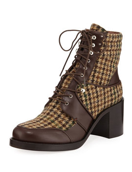 Leo Houndstooth Lace Up Mixed Booties by Tabitha Simmons