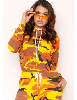 Kaden Orange Camo Jumper by Missy Empire
