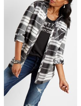 Plaid Pocket Button Down Tunic Top by Maurices
