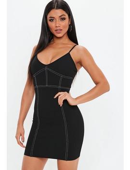 Black Strappy Contrast Stitch Mini Dress by Missguided