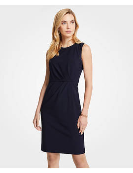 Petite Seasonless Stretch Ruched Sheath Dress by Ann Taylor