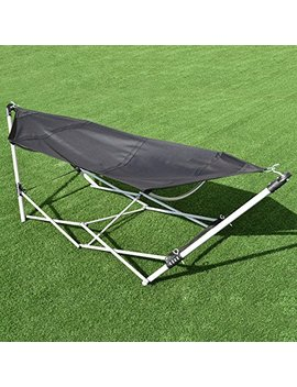 Giantex Portable Folding Hammock Lounge Camping Bed Steel Frame Stand W/Carry Bag by Giantex