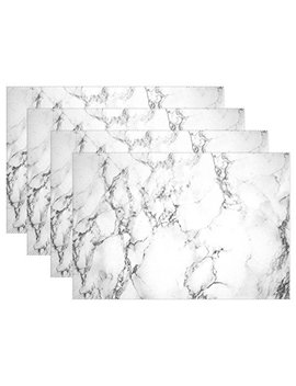 "Wozo Gary Marble Texture Placemat Table Mat 12"" X 18"" Polyester Table Place Mat For Kitchen Dining Room 1 Piece by Wozo"