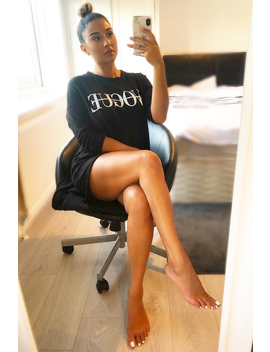Black Vogue Slogan Oversized Jumper   Bray by Rebellious Fashion
