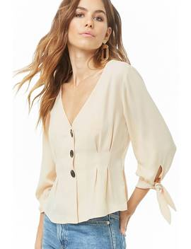 Pleated Button Front Top by Forever 21
