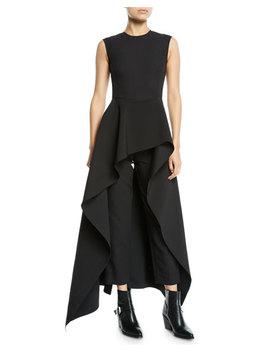 Soraya Sleeveless Crepe Asymmetric Ruffle Jumpsuit by Neiman Marcus