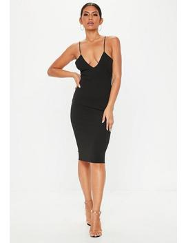 Black Strappy Cross Plunge Midi Dress by Missguided
