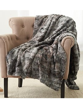 "Pinzon Faux Fur Throw Blanket 63"" X 87"", Frost Grey by Pinzon By Amazon"