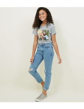 Girls Blue Ripped Stretch Mom Jeans by New Look