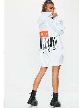 White Slogan Detail Oversized Hooded Dress by Missguided