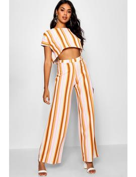 Stripe Oversized T Shirt & Wide Leg Trousers by Boohoo