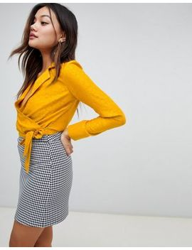 Miss Selfridge Jacquard Pyjama Wrap Blouse In Yellow by Miss Selfridge