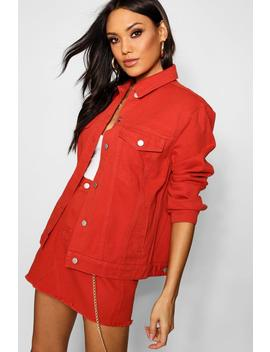 Rust Oversized Denim Jacket by Boohoo