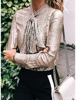 Silver Tie Front Long Sleeve Chic Women Sparkling Shirt by Choies