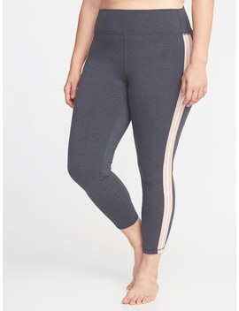 High Rise Side Stripe Plus Size 7/8 Length Yoga Leggings by Old Navy