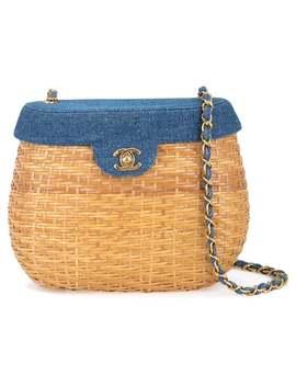Chanel Vintage Cc Logo Straw Basket Shoulder Baghome Women Chanel Vintage Vintage Vintage Bags by Chanel Vintage
