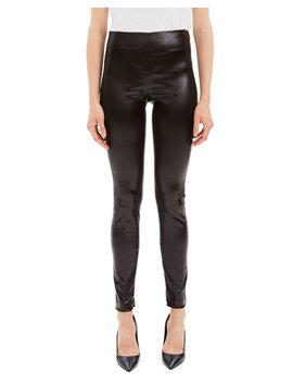 Skinny Chintz Faux Leather Stretch Leggings by Theory