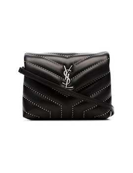 Black Lou Lou Stud Embellished Quilted Leather Shoulder Bag by Saint Laurent