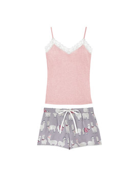 Alpacas Brushed Flannel Shorts And Vest Pj Set by Cath Kidston