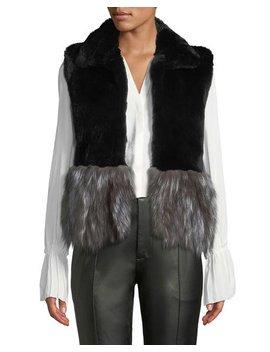 Short Fur Vest W/ Contrast Fur Hem by Adrienne Landau