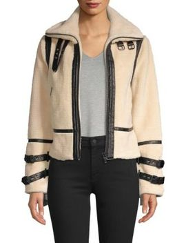 Faux Shearling Moto Jacket by Dh New York