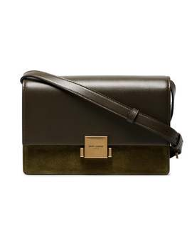 Green Bellechasse Medium Suede And Leather Satchel by Saint Laurent