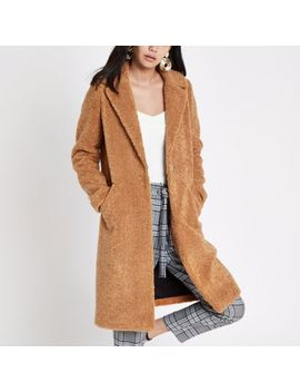Light Brown Fleece Coat by River Island
