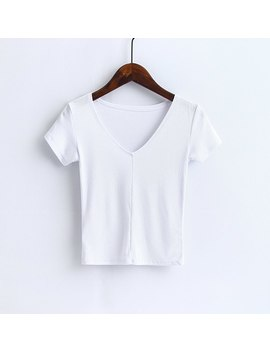 Women Deep V Neck Super Soft Ribbed Cropped Tops Lindy Slim T Shirts Casual Tees by Ali Express