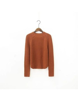 Women Slightly Cropped Knit Tops Mock Neck Long Sleeve Ribbed Pullovers Female Casual Sweaters by Ali Express