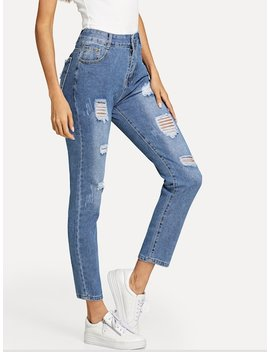 Ripped Bleach Wash Jeans by Sheinside