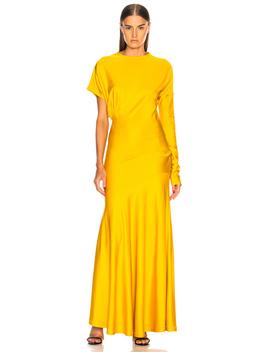 Draped Asymmetric Sleeve Maxi Dress by Calvin Klein 205 W39 Nyc